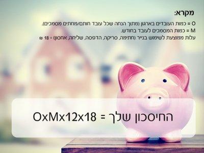חשבו חסכון בהוצאות הארגון לפי הנוסחה הבאה